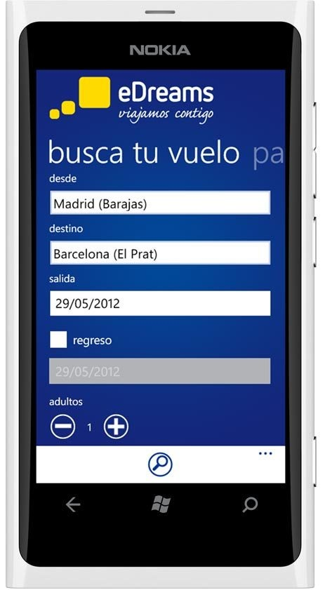 aplicación eDreams Windows phone