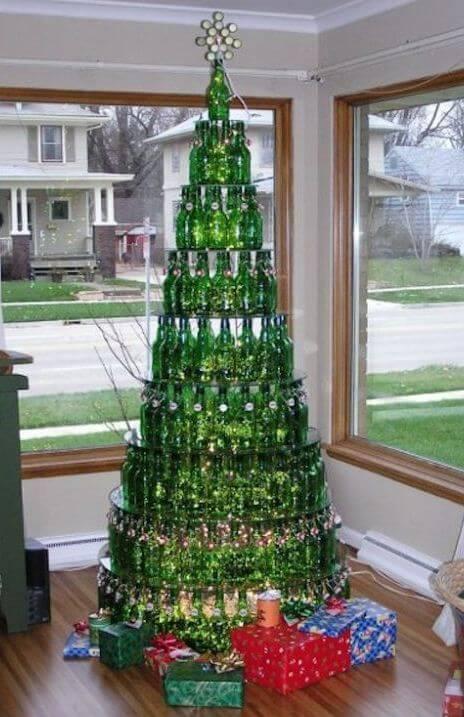 arbol de botellas de cristal
