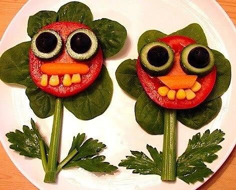 flores hechas con verduras