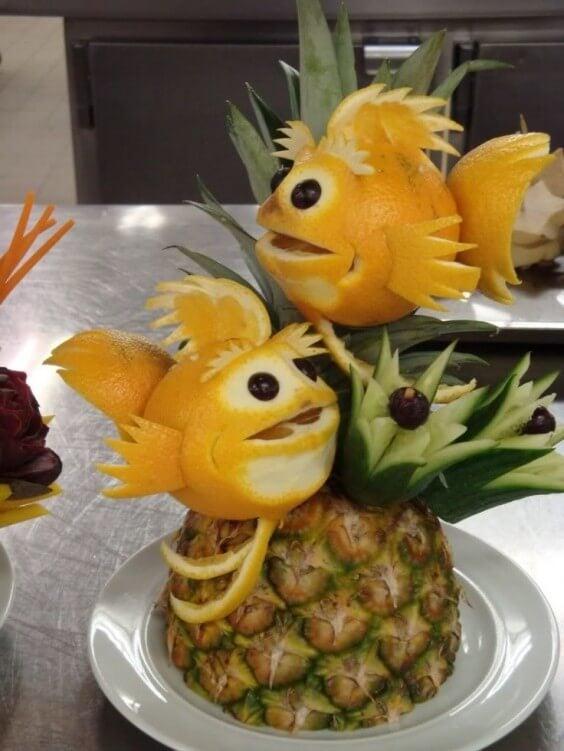 peces hechos con naranjas