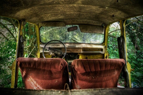 Interior Of An Abandoned Car