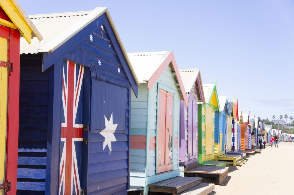 Brighton Beach Melbourne, vestidores de colores