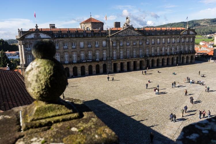 Vistas a la Plaza del Obradoiro desde la Catedral de Santiago de Compostela