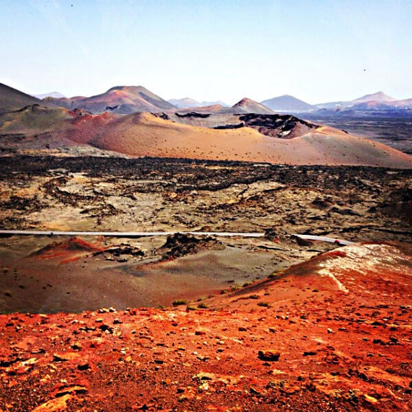 Red mountains of Timanfaya National Park.