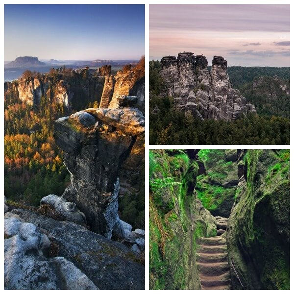 The hiking trails in Saxon Switzerland National Park.