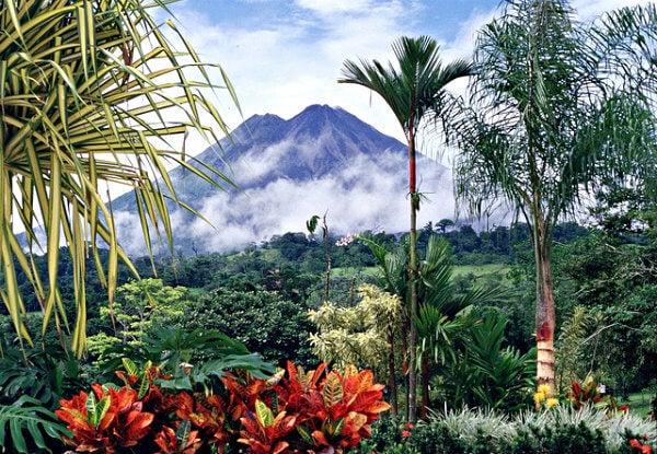 volcan con selva en costa rica