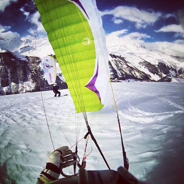 speedriding, parapendio sulla neve