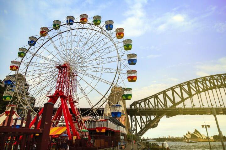 Parque de atracciones Luna Park de Sídney con Ferris Wheel y Harbour Bridge al fondo