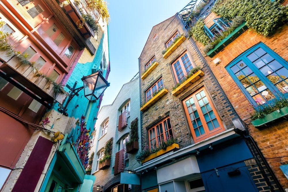 Casas de colores en el barrio de Covent Garden, de lo mejor que ver en Londres