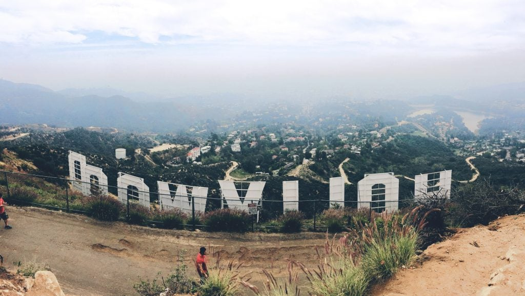 Cartel de Hollywood en la colina de Los Ángeles