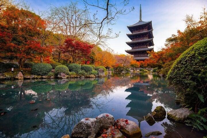 Templo To-ji con pagoda al fondo en Kioto