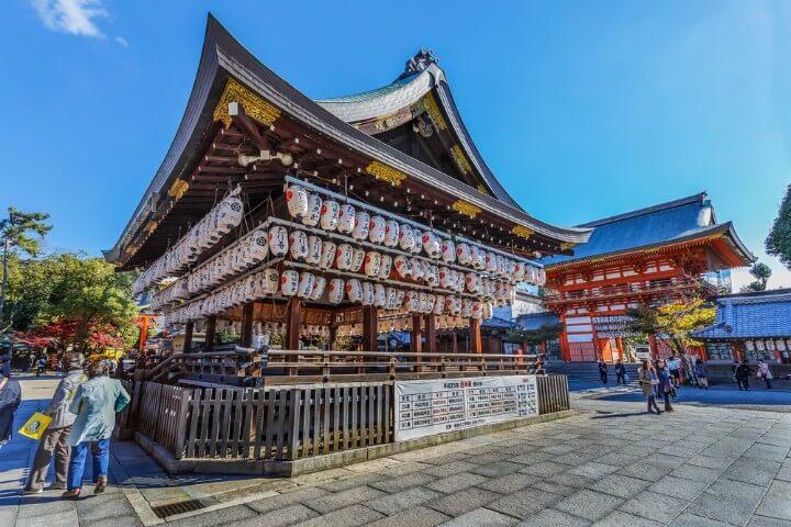 Templo de farolillos del Santuario Yasaka en Kioto