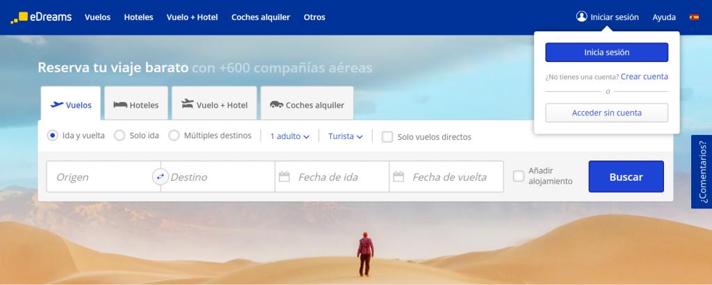 Botón Iniciar Sesión en la página de inicio de edreams.es