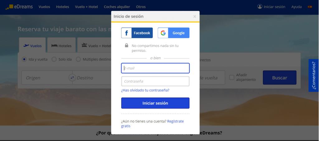 Ventana de Iniciar Sesión de la web de edreams.es
