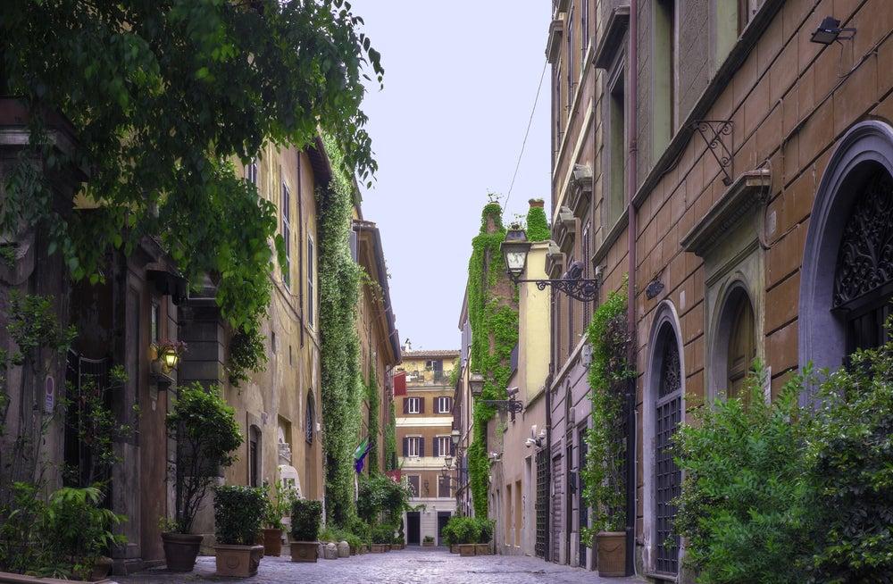 Edificios de la Via Margutta en Roma, famosa por la película Vacaciones en Roma